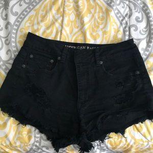 AE Distressed Black Jean Shorts